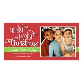 Modern Merry Merry Christmas Wishes Family Photo Cards