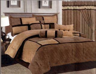 7pcs Brown Mirco Suede Patchwork Comforter Set Bed in a bag for Queen