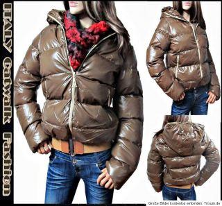 Coole Damen Winter Jacke 34 36 38 40 Steppjacke Lack Optik Schwarz