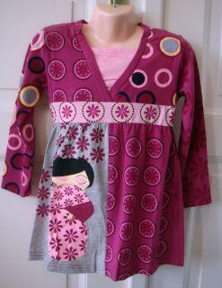 Mädchen Kleid Shirt Tunika langarm *lila*grau*flieder*pink* Gr. 116