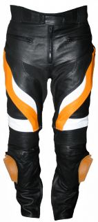 Motorradhose Motorrad Biker Racing Herren Lederhose Rindsleder Schwarz