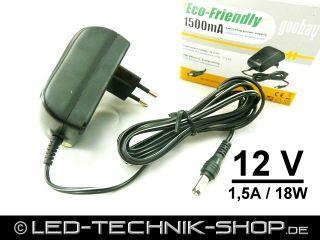 Eco Friendly LED Trafo Netzteil Steckernetzteil 12V 1,5A 1500mA 18W