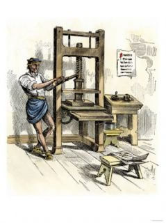 Stephen Dayes Press, the First Printing Press in America, Cambridge, Massachusetts, c.1640 Giclee Print