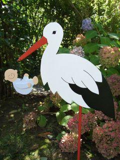 80cm Storch mit Baby (rosa, blau, gelb oder grün) oder Zwillingen