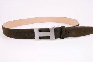 Schnalle Schließe Gürtel Leder olive /silber 92079600010