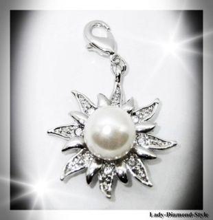 Charm Anhänger Sonne mit Perle Zirkonia Weiß Silber