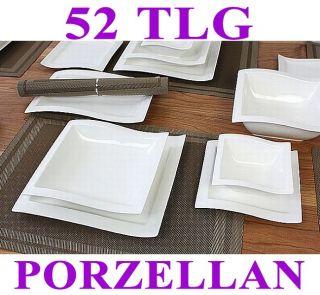 Porzellan 52 tlg Tafelservice Eckig Teller Set Geschirr 12 Personen