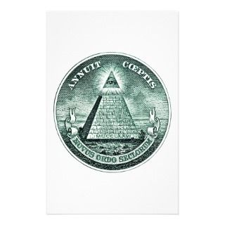 Eye On The Dollar Illuminati Pyramid Custom Stationery