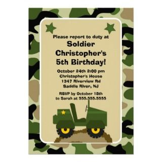 Soldier Kids Birthday Party Custom Invitation