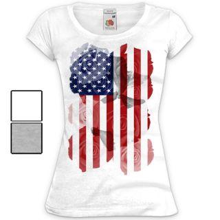 Damen T Shirt USA Amerika Flagge Motiv Druck Vintage Print States