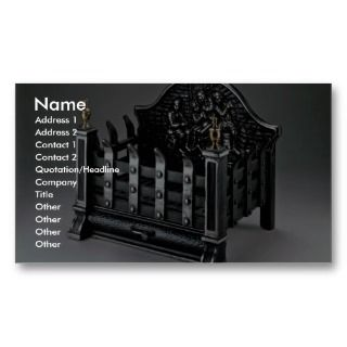 Cast iron fire basket business card templates