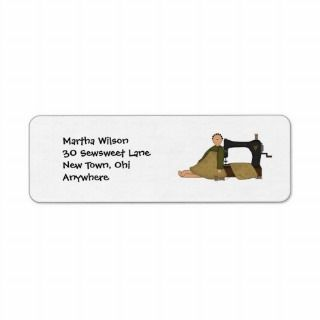 Prim doll and sewing machine labels