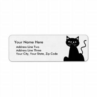 Cute Retro Black Cat Cartoon Drawing Return Address Label