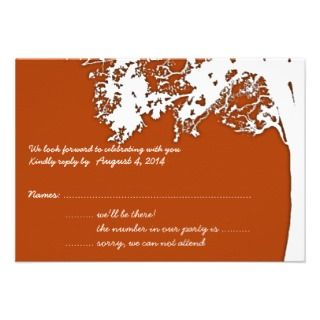 Our Tree, Fun Wedding Reply Cards, Burnt Orange Custom Invites