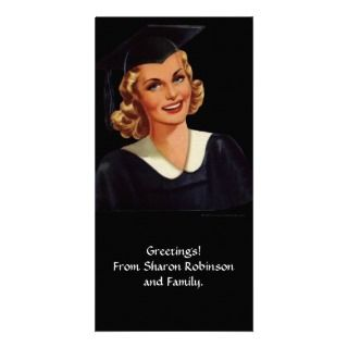 Vintage College Co Ed Graduation Woman Custom Photo Card