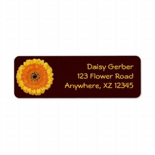 Yellow Gerber Daisy Return Address Labels