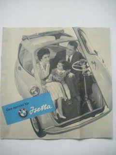 BMW Isetta Auto Kfz Motocoupe Werbung Reklame Prospekt + Preisliste