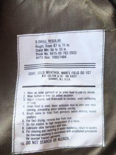 US ARMY M 65 OG 107 Field Jacket Sz XS/S MINTY Scovill parka vtg