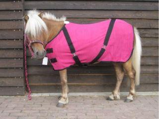 Pony Shetty Abschwitzdecke mit Kreuzbegurtung pink 105