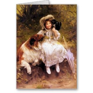 Card or Invitation Pet Collie Dog, Girl and Cat