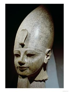 Colossal Head of Amenhotep III, from Al Qurnah, New Kingdom (Pink Granite) Giclee Print