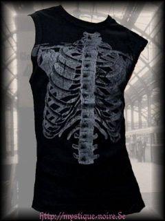 Shirt Shirt Skeleton Skelett Bones Wirbelsäule Gothic Horror Punk S
