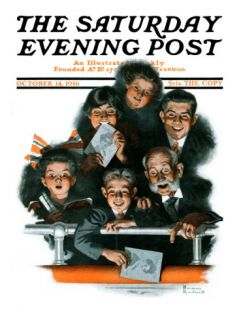 Charlie Chaplin Fans Saturday Evening Post Cover, October 14,1916 Giclee Print by Norman Rockwell