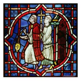 Two Ecclesiastical Figures, 1205 15 (Stained Glass) Giclee Print by French