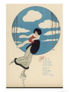Young Lady Ice Skates on a Winter Day with Blue Sky Giclee Print by Sven Brasch