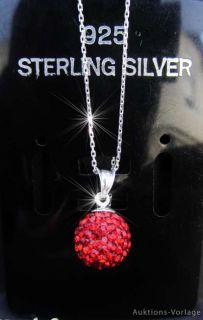 925 Silber Kugel Anhänger mit Swarovski Steinen+Kette Rot