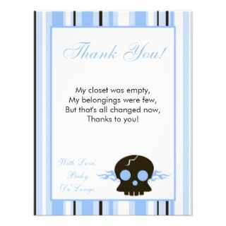 4x5 FLAT Thank You Card Boy Blue Punk Rocker Skull Custom Announcement