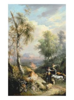 Goatherds in Mountainous Spanish Landscape, 19th Century Giclee Print by Manuel Barron y Carrillo
