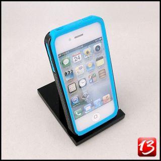 iPhone 4 4s Hülle Silikon Case Cover Schutz Hard Zebra Design 3D blau