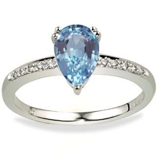 Goldmaid Damen Ring 585 Weißgold 1 Blautopas 10 Diamanten 0,05ct Gr