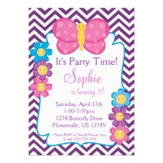 and Pink Butterfly Birthday Party Custom Invitation