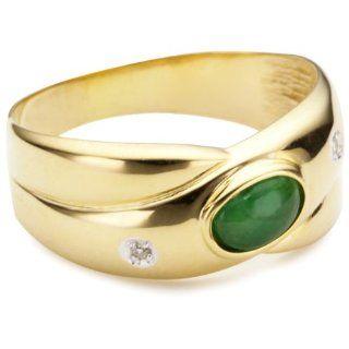 Bella Donna Damen Ring 8 Karat Gelbgold 2 Diamanten 1 Smaragd Gr. 60