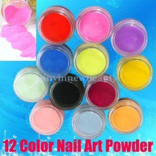 12 Farben Acryl Puder Pulver Glitter Powder Nail Art Nagelstudio SET