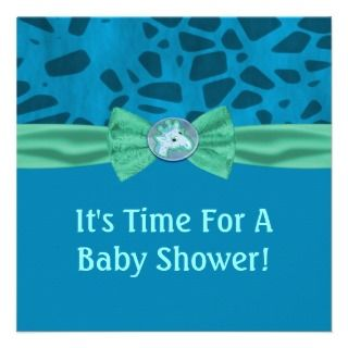 Blue & Green Giraffe Baby Shower Announcements