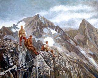 ARLBERG Bergsteiger 1930 Berge Gebirge Gemälde Luis Sporeni Bregenz
