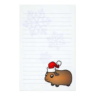 Christmas Guinea Pig (brown) Custom Stationery