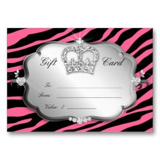 Gift Card Valentine Zebra Silver Pink Crown Business Card Template
