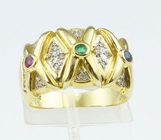 RING 585er Gold Diamanten & Rubin & Smaragd & Saphir Multicolor GG WG