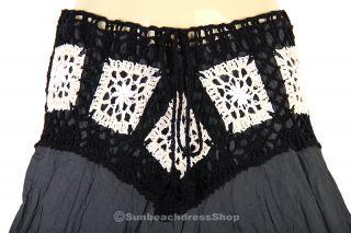 Vintage Bohemian Rock Strand Hippie BOHO Skirt Gray XS XL sk156g