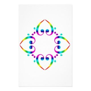 Rainbow Bass Clef Flower Stationery Design