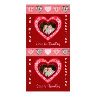 Damask Hearts Valentine Photo Greeting Cards