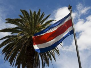 Costa Rican Flag, San Jose, Costa Rica Photographic Print by Robert Harding