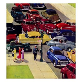 Traffic Jam, April 28, 1956 Giclee Print by Earl Mayan