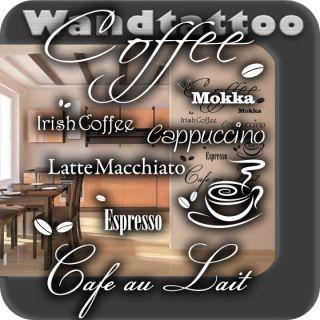 S134 XXL Wandaufkleber Kaffee Cafe Coffee Wandworte Küche