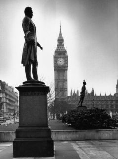 Legendary Clock Tower Big Ben Framed by Statues of Lord Palmerston and Jan Smuts Premium Photographic Print by Alfred Eisenstaedt