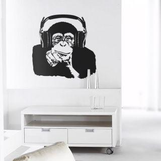 Affe mit Kopfhörern  Wandtattoo Wandsticker Walltattoo Wandtatto